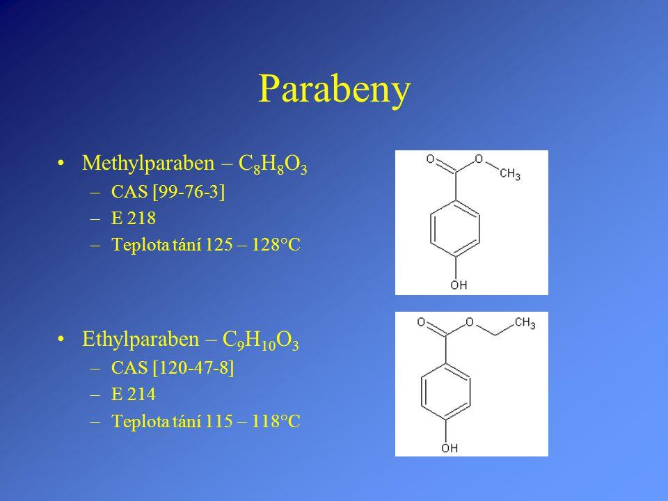 Parabeny Methylparaben – C8H8O3 Ethylparaben – C9H10O3 CAS [99-76-3]